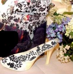 Black Damask Chocolate Shoe
